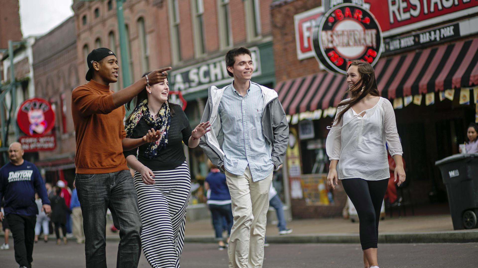 Students walking down Beale Street