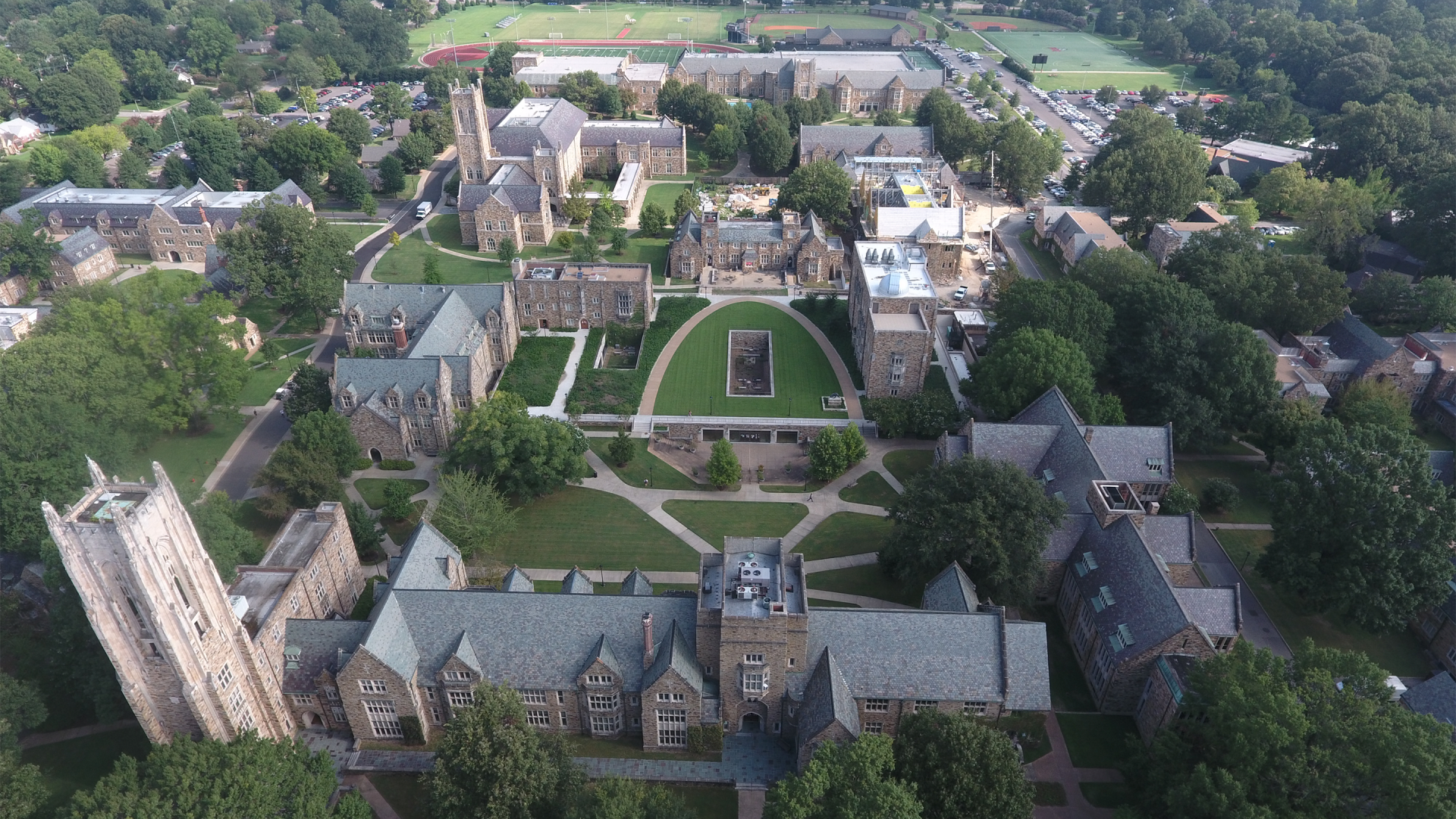 Aerial view of Rhodes College