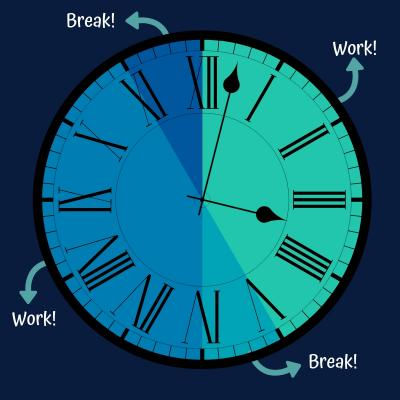 A clock segmented with work and break time