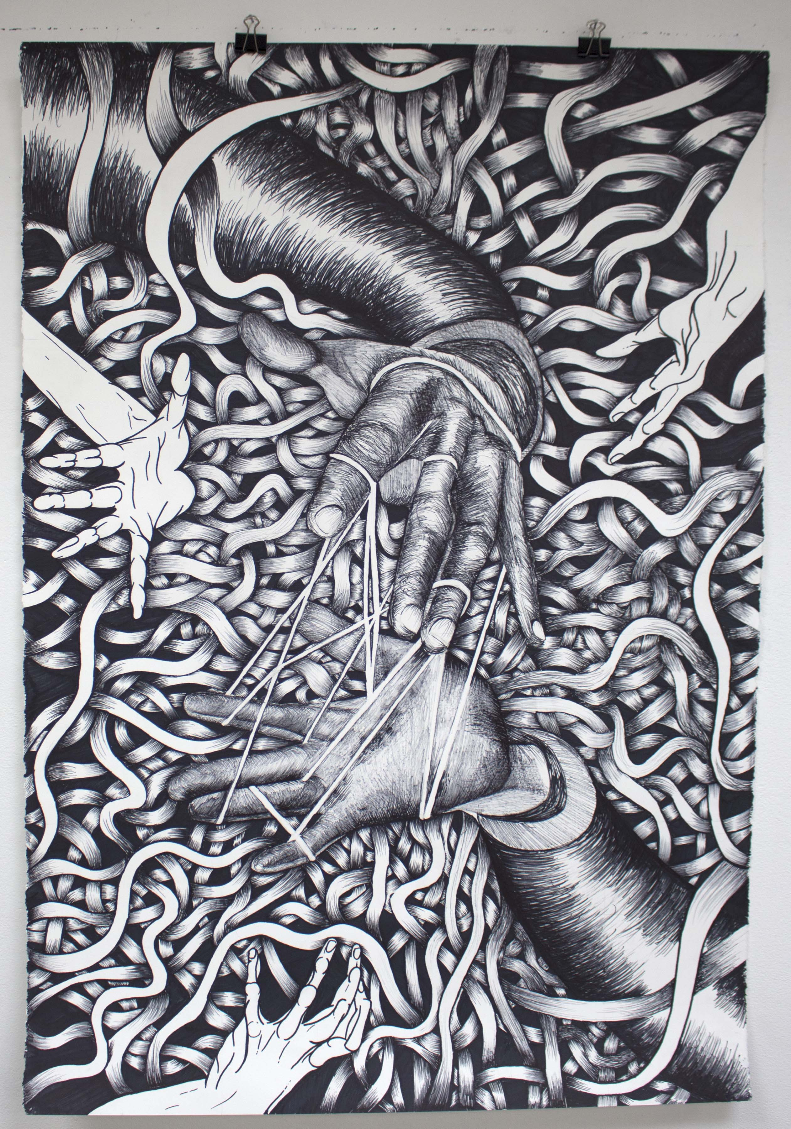 A drawing of hands