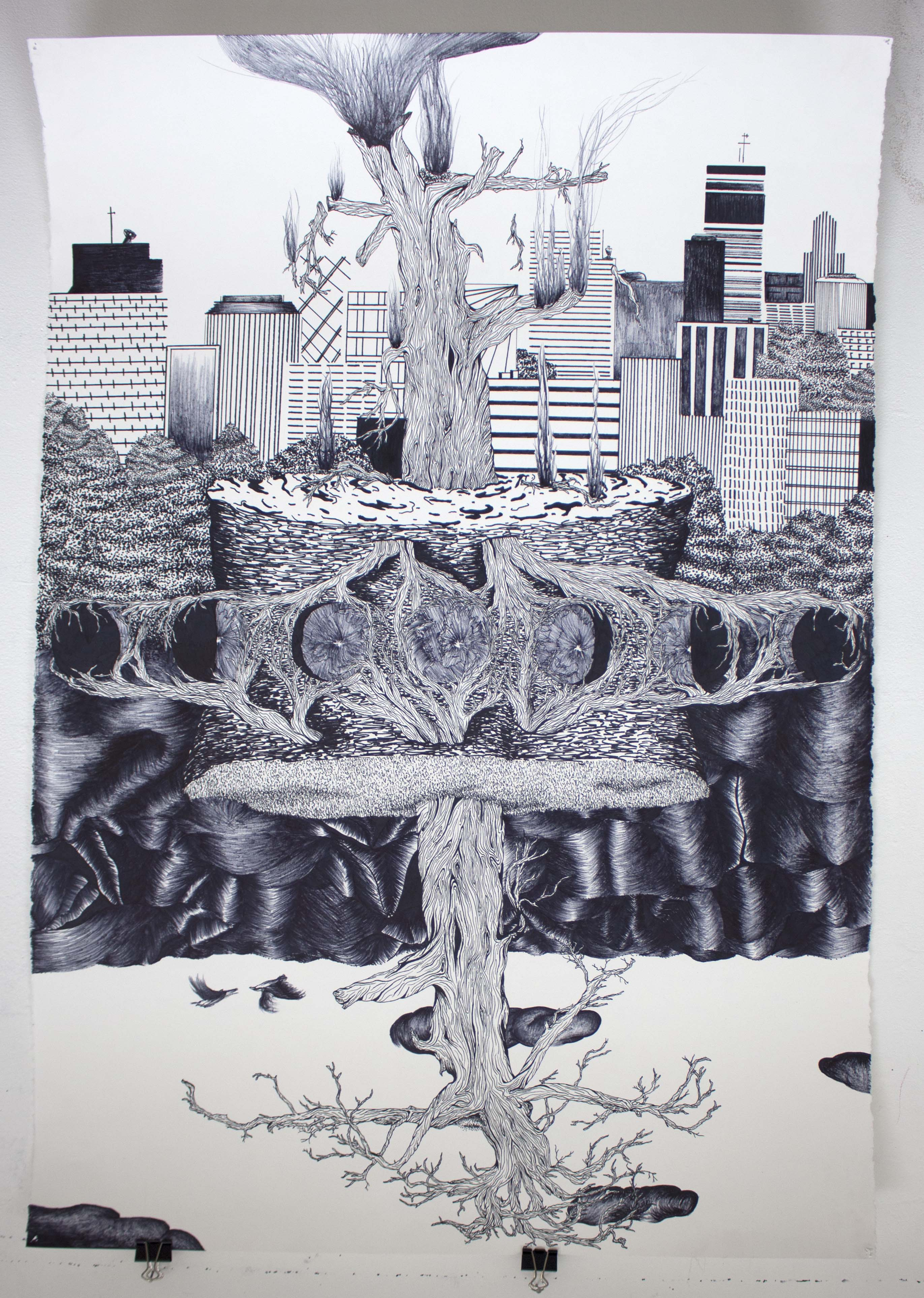 A drawing of a tree and a city