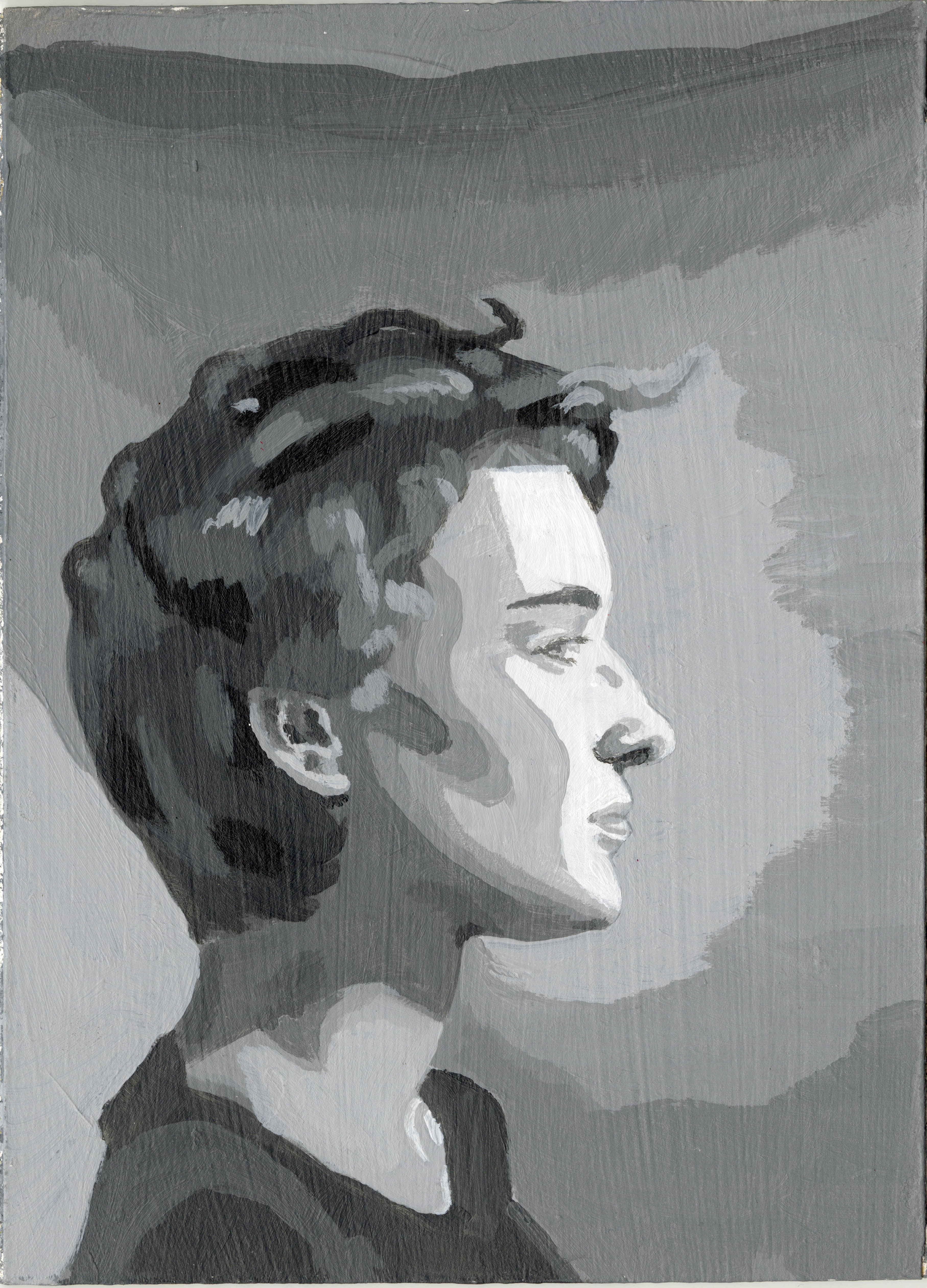 Painting of a profile portrait