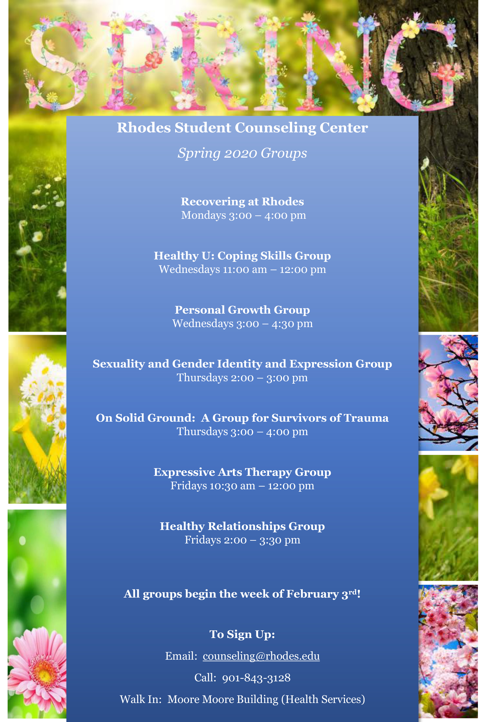 """A poster with beautiful spring flowers advertising the availability of group therapy options"""
