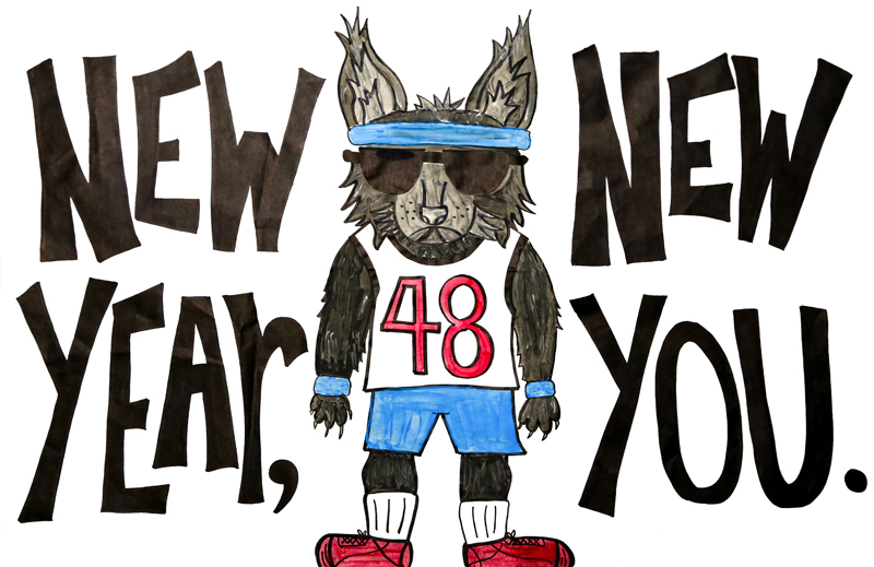 a banner with a drawing of a lynx in workout clothes that says New Year, New You